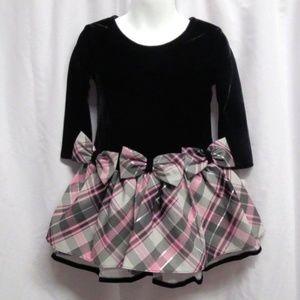 Bonnie Jean Velvet Bow Plaid Holiday Dress 2T NWT
